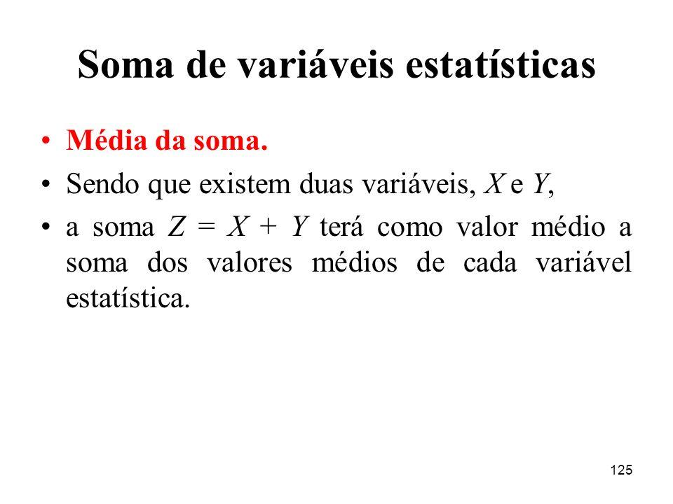 125 Soma de variáveis estatísticas Média da soma. Sendo que existem duas variáveis, X e Y, a soma Z = X + Y terá como valor médio a soma dos valores m