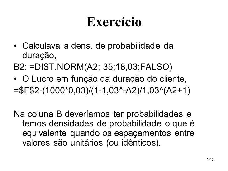 143 Exercício Calculava a dens. de probabilidade da duração, B2: =DIST.NORM(A2; 35;18,03;FALSO) O Lucro em função da duração do cliente, =$F$2-(1000*0