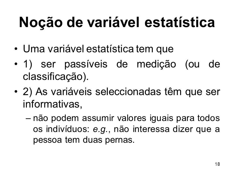 18 Noção de variável estatística Uma variável estatística tem que 1) ser passíveis de medição (ou de classificação). 2) As variáveis seleccionadas têm