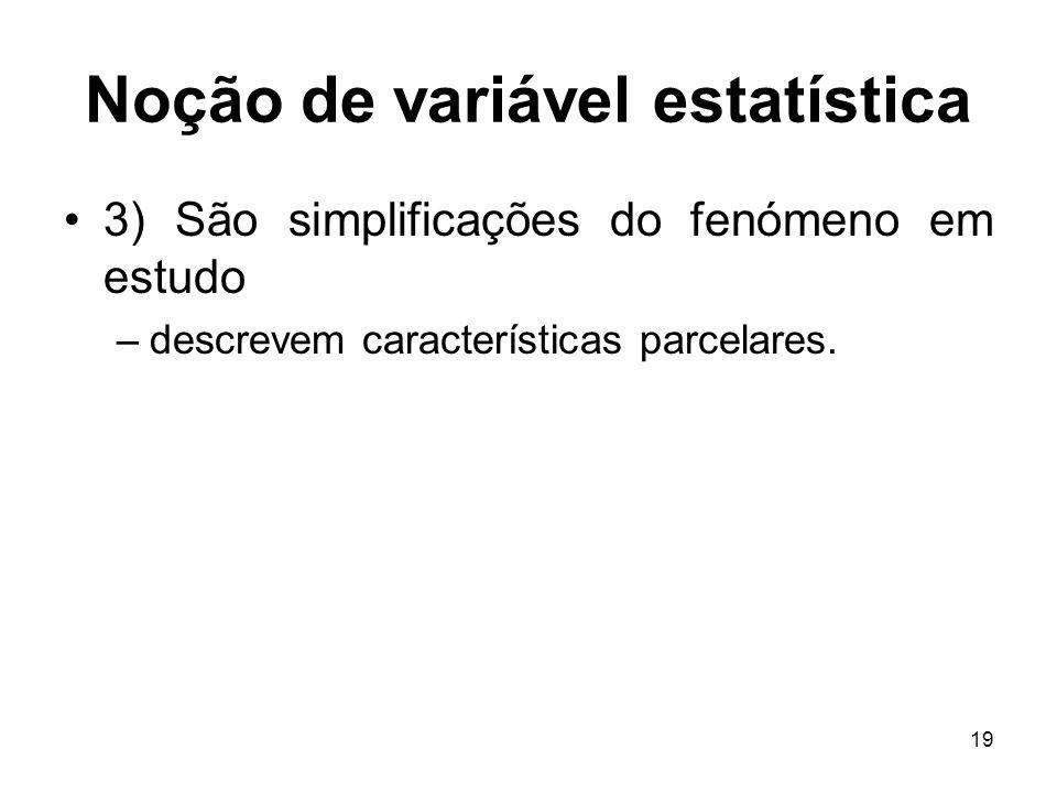 19 Noção de variável estatística 3) São simplificações do fenómeno em estudo –descrevem características parcelares.
