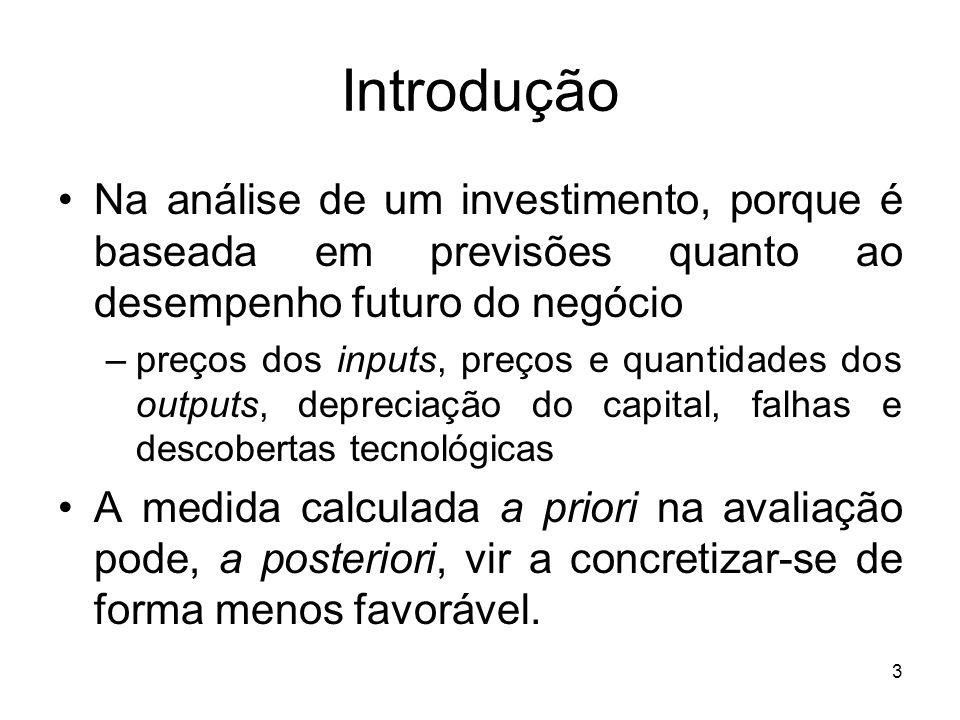 3 Introdução Na análise de um investimento, porque é baseada em previsões quanto ao desempenho futuro do negócio –preços dos inputs, preços e quantida