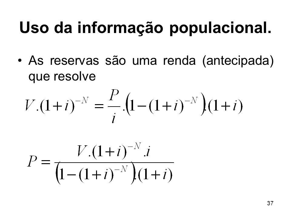 37 Uso da informação populacional. As reservas são uma renda (antecipada) que resolve