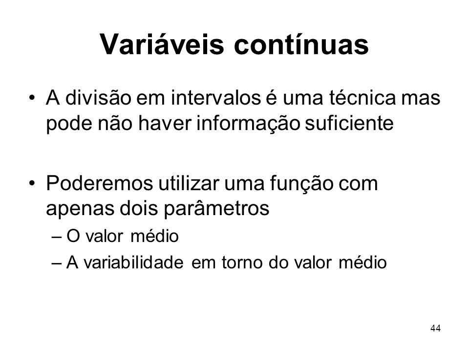 44 Variáveis contínuas A divisão em intervalos é uma técnica mas pode não haver informação suficiente Poderemos utilizar uma função com apenas dois pa