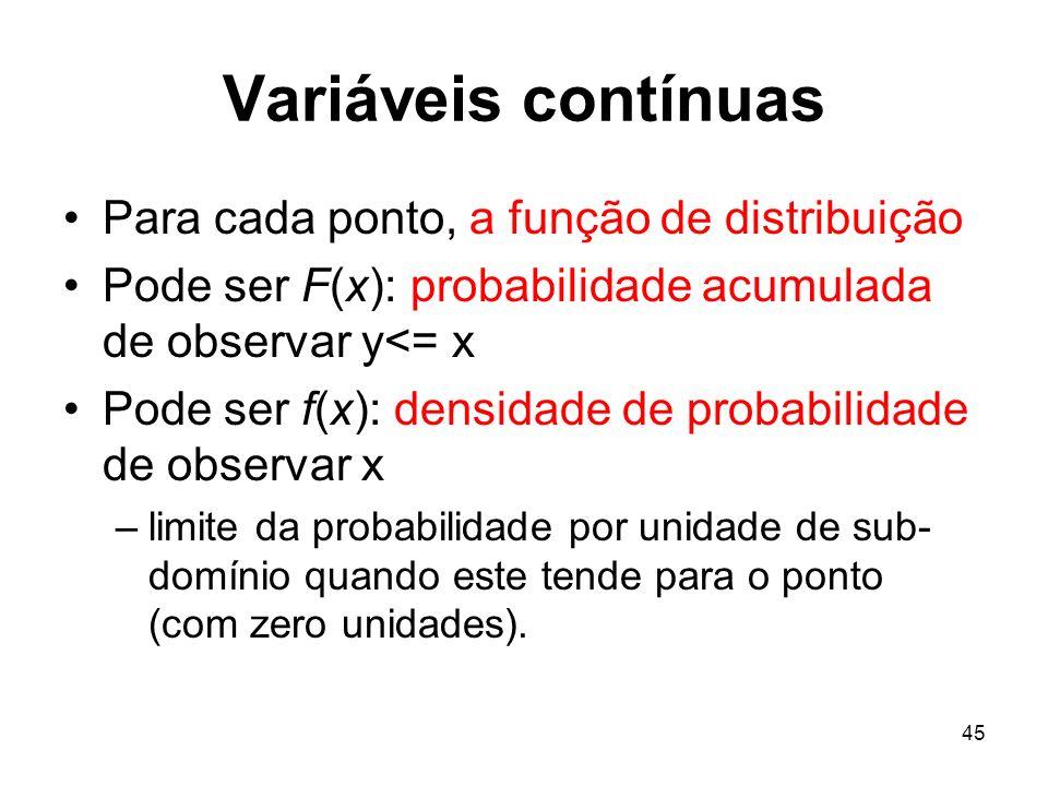 45 Variáveis contínuas Para cada ponto, a função de distribuição Pode ser F(x): probabilidade acumulada de observar y<= x Pode ser f(x): densidade de