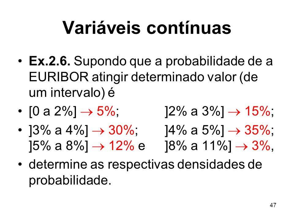 47 Variáveis contínuas Ex.2.6. Supondo que a probabilidade de a EURIBOR atingir determinado valor (de um intervalo) é [0 a 2%] 5%; ]2% a 3%] 15%; ]3%