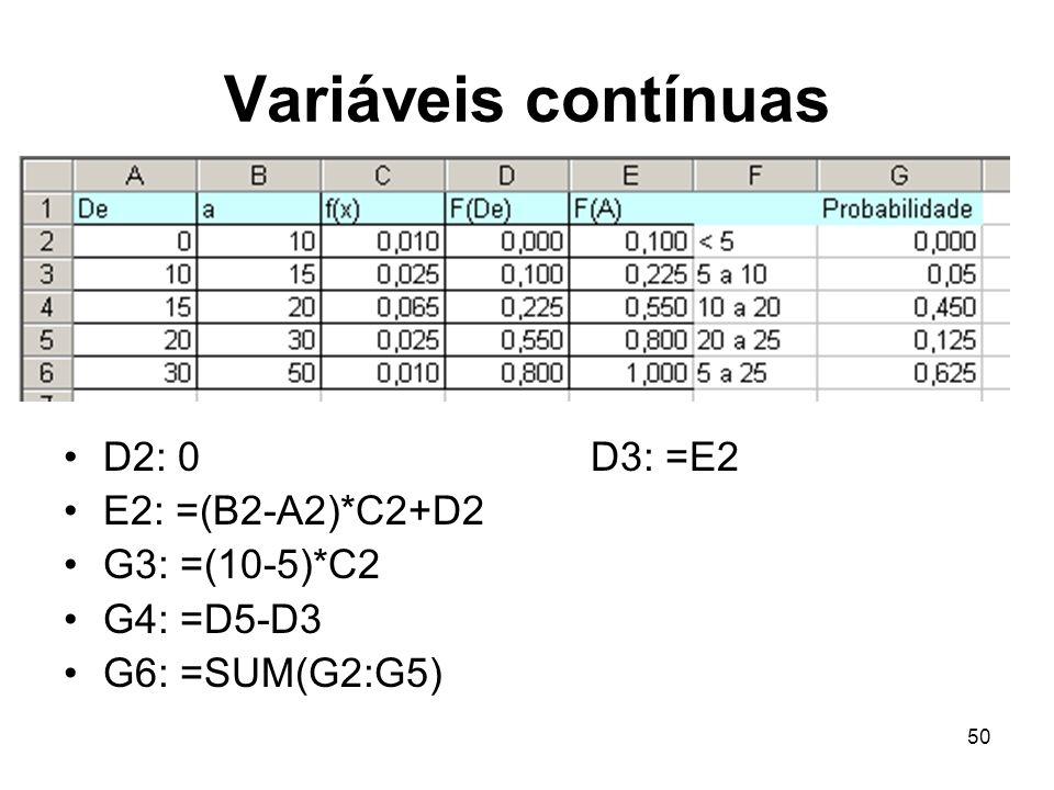 50 Variáveis contínuas D2: 0D3: =E2 E2: =(B2-A2)*C2+D2 G3: =(10-5)*C2 G4: =D5-D3 G6: =SUM(G2:G5)