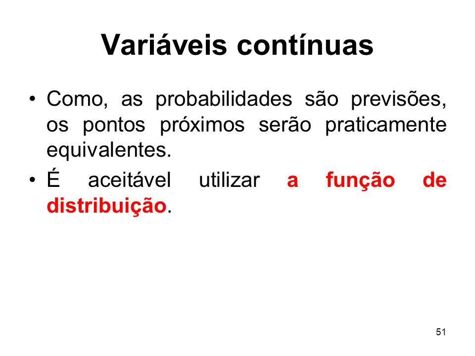 51 Variáveis contínuas Como, as probabilidades são previsões, os pontos próximos serão praticamente equivalentes. É aceitável utilizar a função de dis