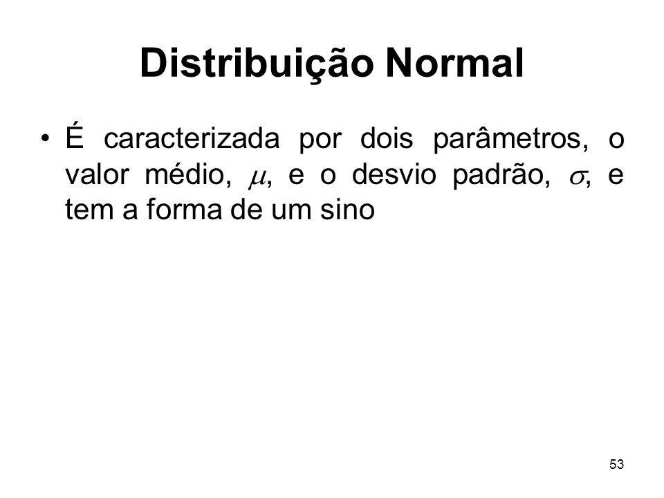 53 Distribuição Normal É caracterizada por dois parâmetros, o valor médio,, e o desvio padrão,, e tem a forma de um sino