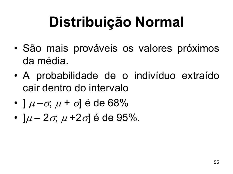 55 Distribuição Normal São mais prováveis os valores próximos da média. A probabilidade de o indivíduo extraído cair dentro do intervalo ] – ; + ] é d