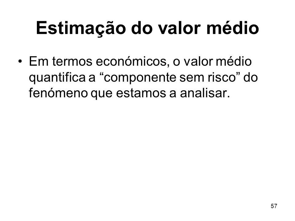 57 Estimação do valor médio Em termos económicos, o valor médio quantifica a componente sem risco do fenómeno que estamos a analisar.