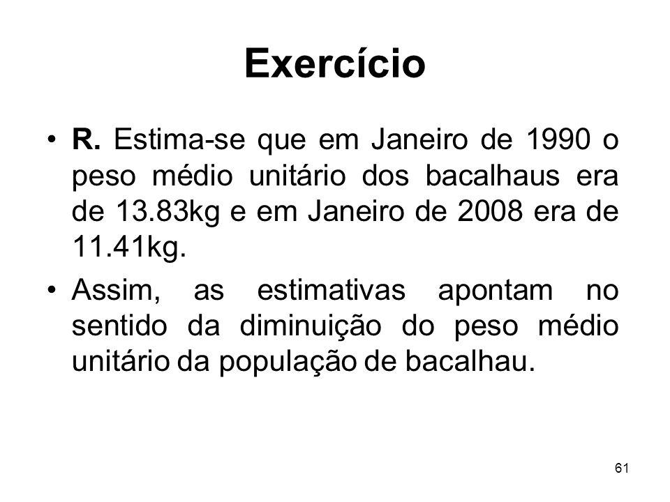 61 Exercício R. Estima-se que em Janeiro de 1990 o peso médio unitário dos bacalhaus era de 13.83kg e em Janeiro de 2008 era de 11.41kg. Assim, as est