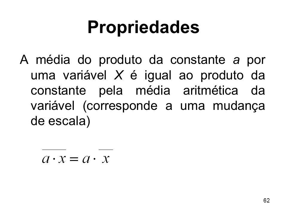 62 Propriedades A média do produto da constante a por uma variável X é igual ao produto da constante pela média aritmética da variável (corresponde a