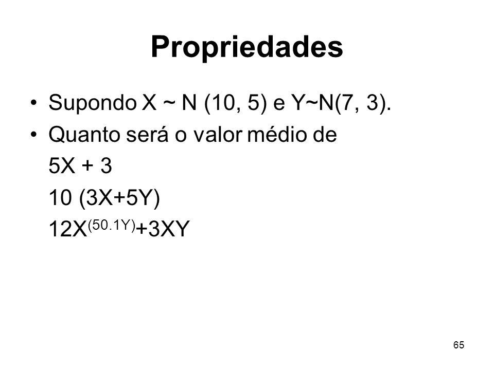 65 Propriedades Supondo X ~ N (10, 5) e Y~N(7, 3). Quanto será o valor médio de 5X + 3 10 (3X+5Y) 12X (50.1Y) +3XY