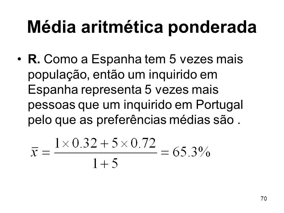 70 Média aritmética ponderada R. Como a Espanha tem 5 vezes mais população, então um inquirido em Espanha representa 5 vezes mais pessoas que um inqui