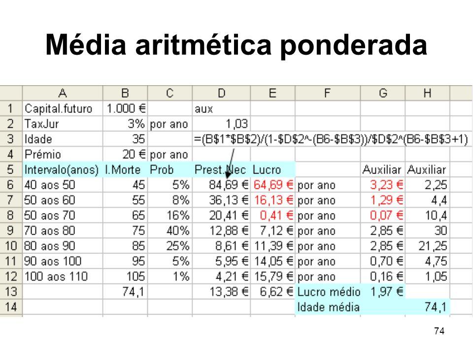 74 Média aritmética ponderada