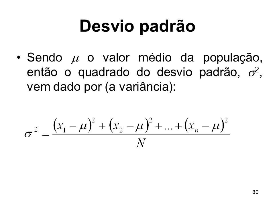 80 Desvio padrão Sendo o valor médio da população, então o quadrado do desvio padrão, 2, vem dado por (a variância):