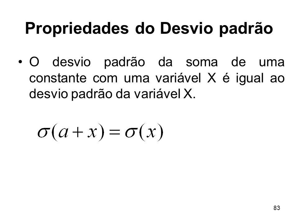 83 Propriedades do Desvio padrão O desvio padrão da soma de uma constante com uma variável X é igual ao desvio padrão da variável X.