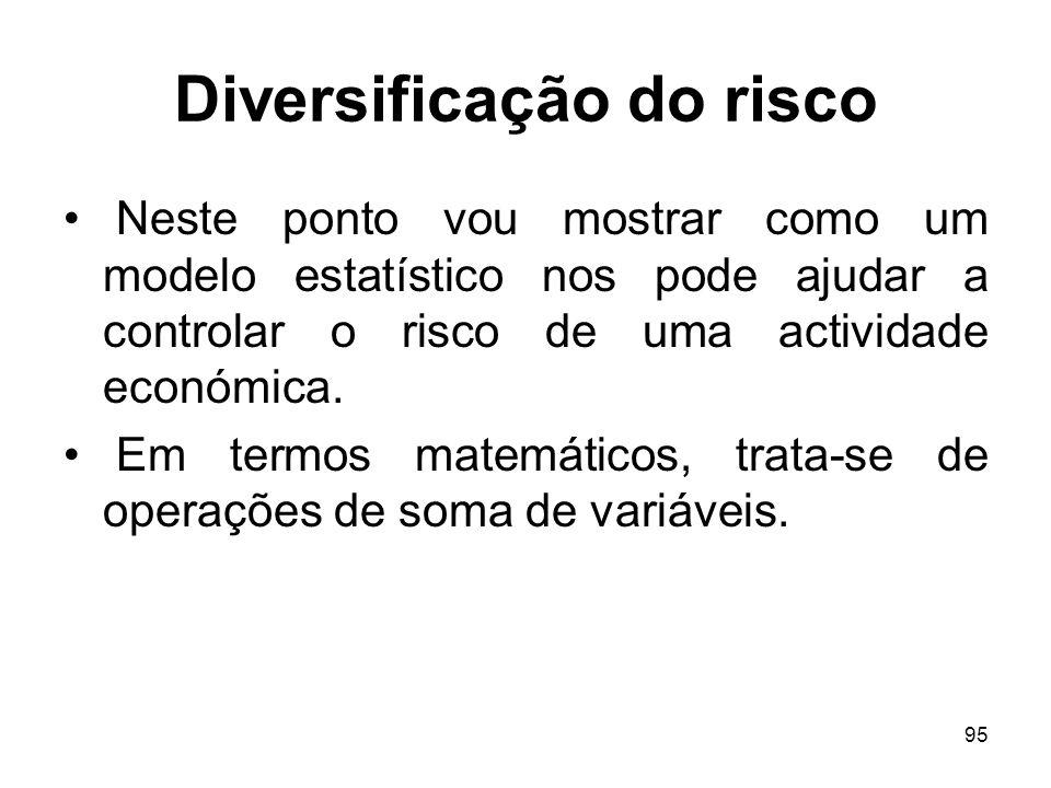 95 Diversificação do risco Neste ponto vou mostrar como um modelo estatístico nos pode ajudar a controlar o risco de uma actividade económica. Em term