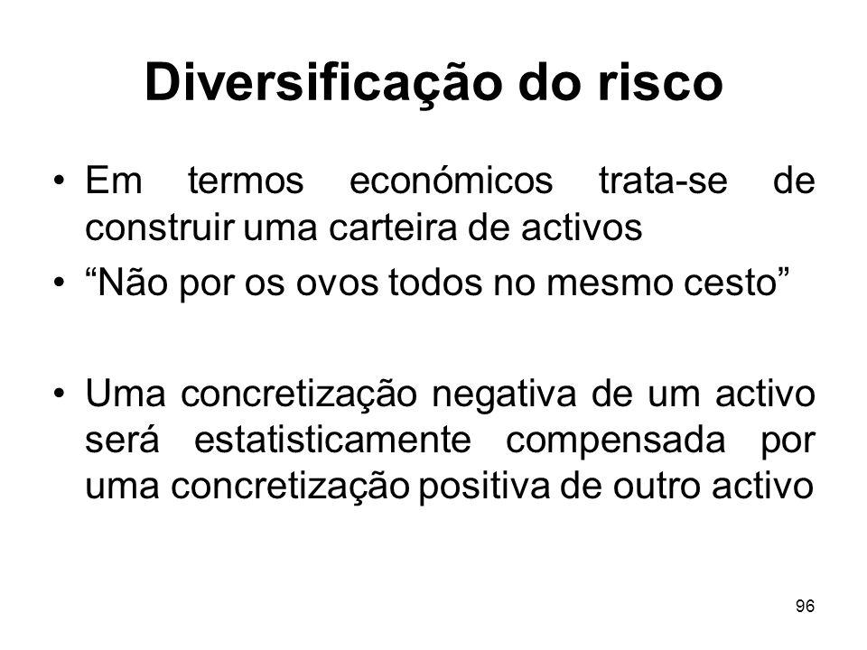 96 Diversificação do risco Em termos económicos trata-se de construir uma carteira de activos Não por os ovos todos no mesmo cesto Uma concretização n