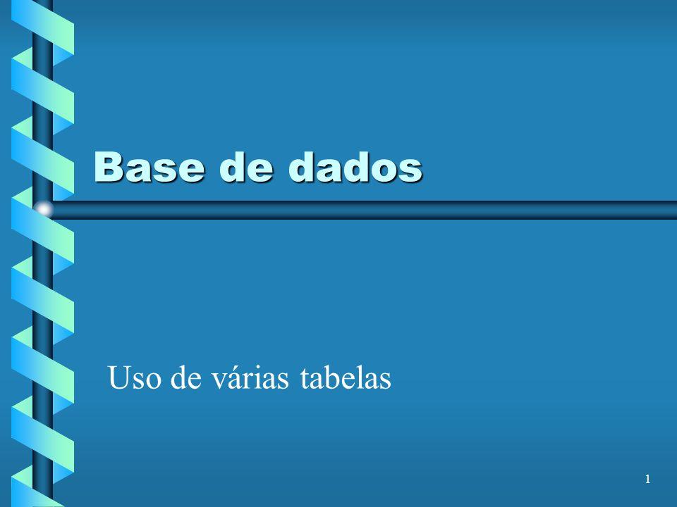 1 Base de dados Uso de várias tabelas