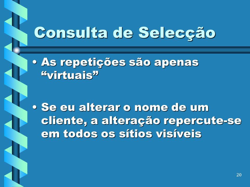 20 Consulta de Selecção As repetições são apenas virtuaisAs repetições são apenas virtuais Se eu alterar o nome de um cliente, a alteração repercute-s