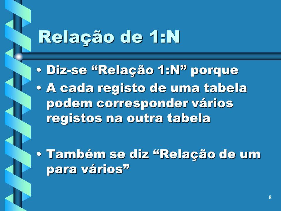 8 Relação de 1:N Diz-se Relação 1:N porqueDiz-se Relação 1:N porque A cada registo de uma tabela podem corresponder vários registos na outra tabelaA c