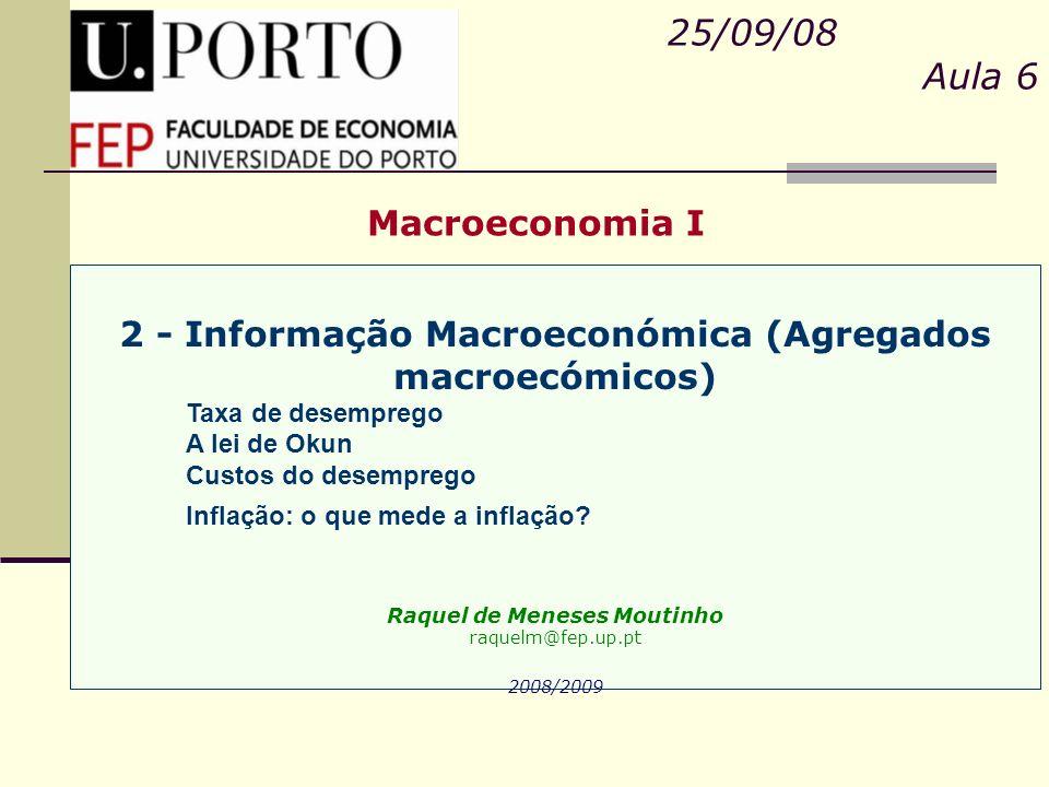 Macroeconomia I 25/09/08 Aula 6 2 - Informação Macroeconómica (Agregados macroecómicos) Taxa de desemprego A lei de Okun Custos do desemprego Inflação