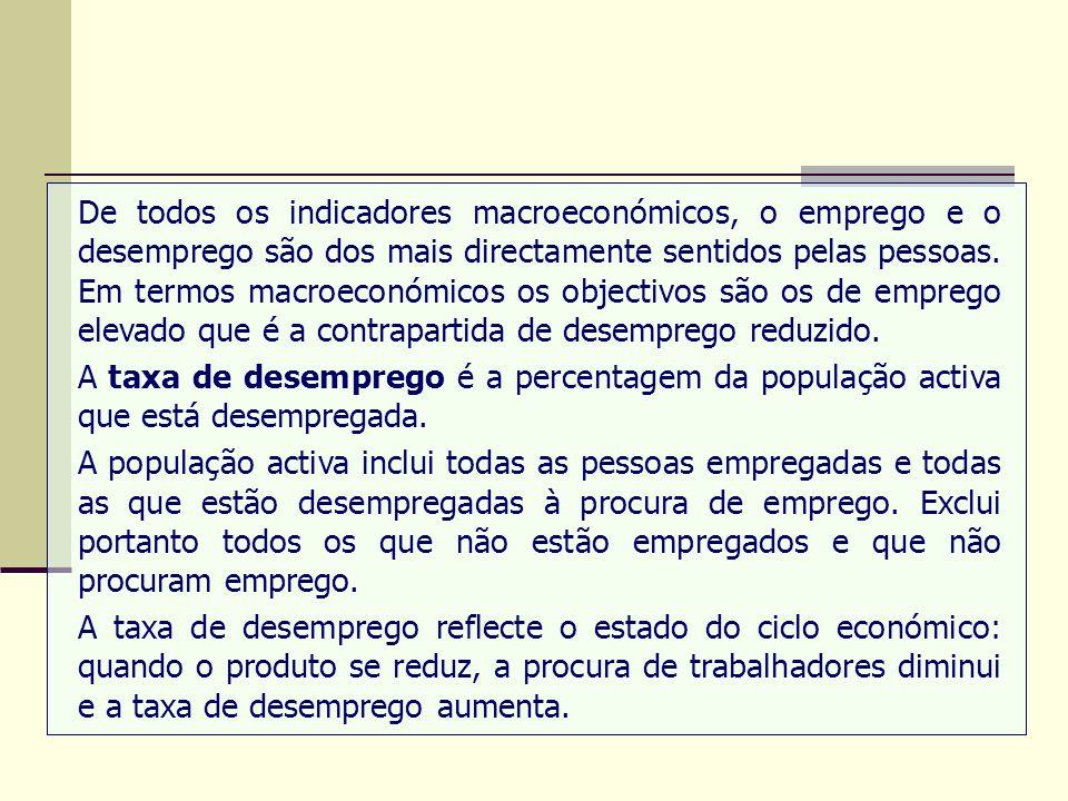 De todos os indicadores macroeconómicos, o emprego e o desemprego são dos mais directamente sentidos pelas pessoas. Em termos macroeconómicos os objec