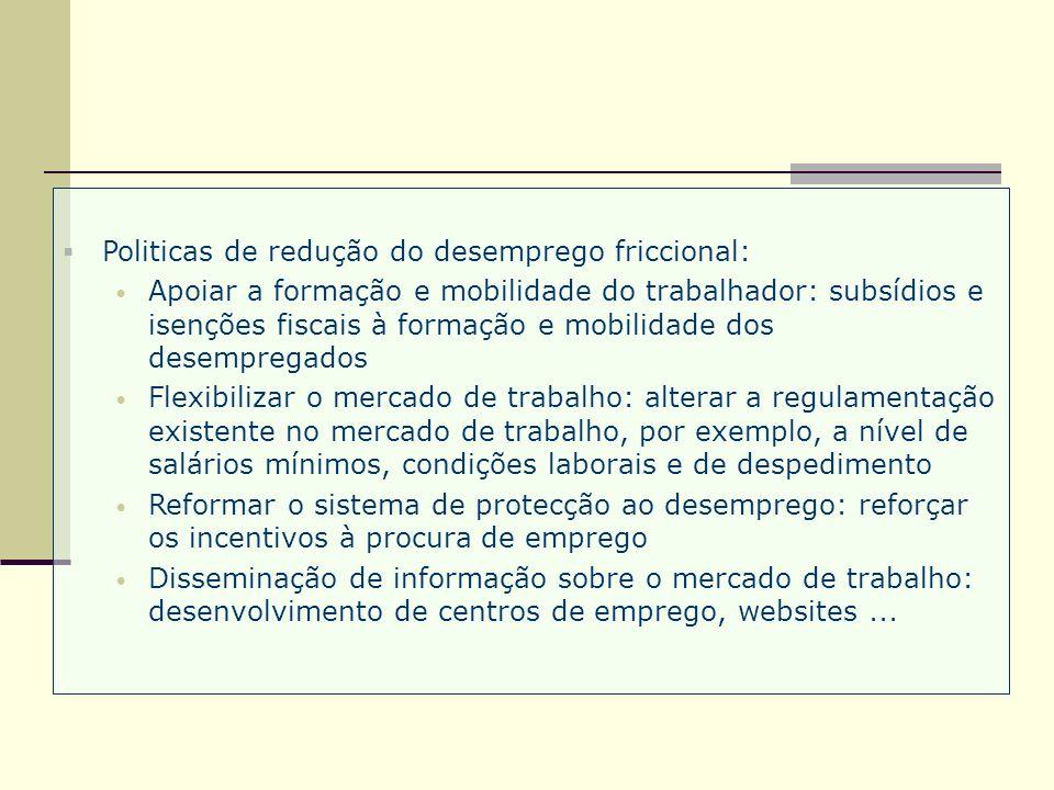 Politicas de redução do desemprego friccional: Apoiar a formação e mobilidade do trabalhador: subsídios e isenções fiscais à formação e mobilidade dos