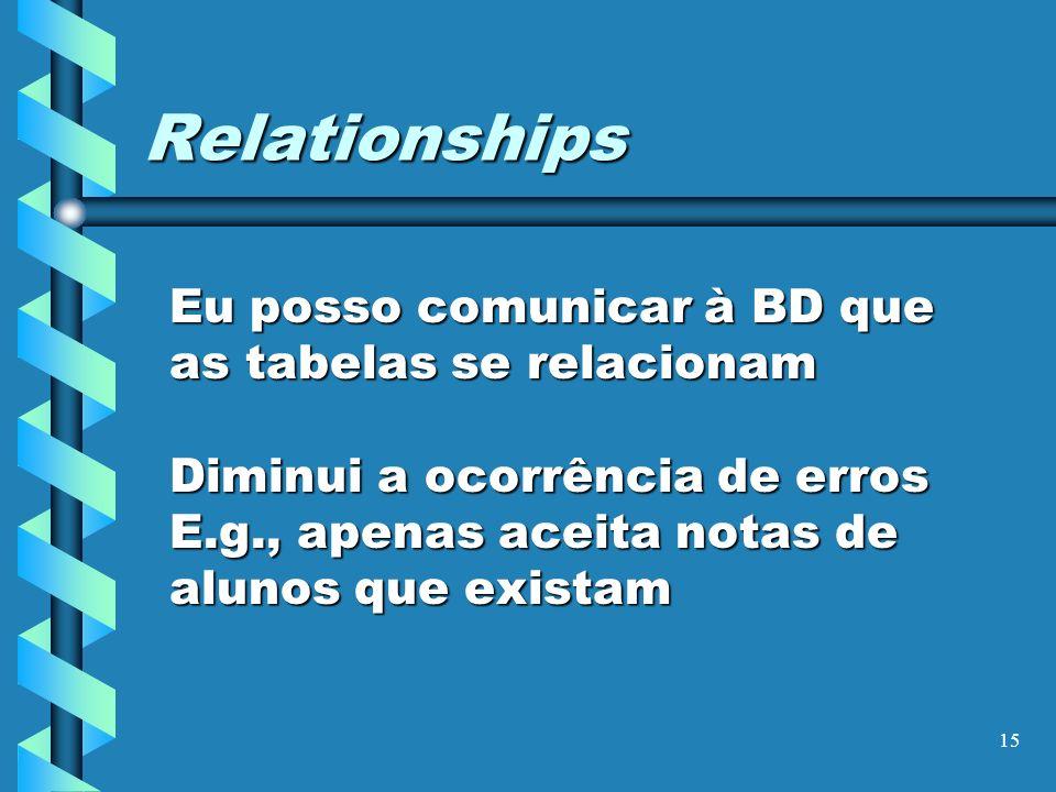 15 Relationships Eu posso comunicar à BD que as tabelas se relacionam Diminui a ocorrência de erros E.g., apenas aceita notas de alunos que existam
