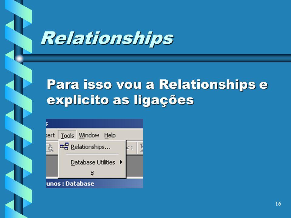 16 Relationships Para isso vou a Relationships e explicito as ligações