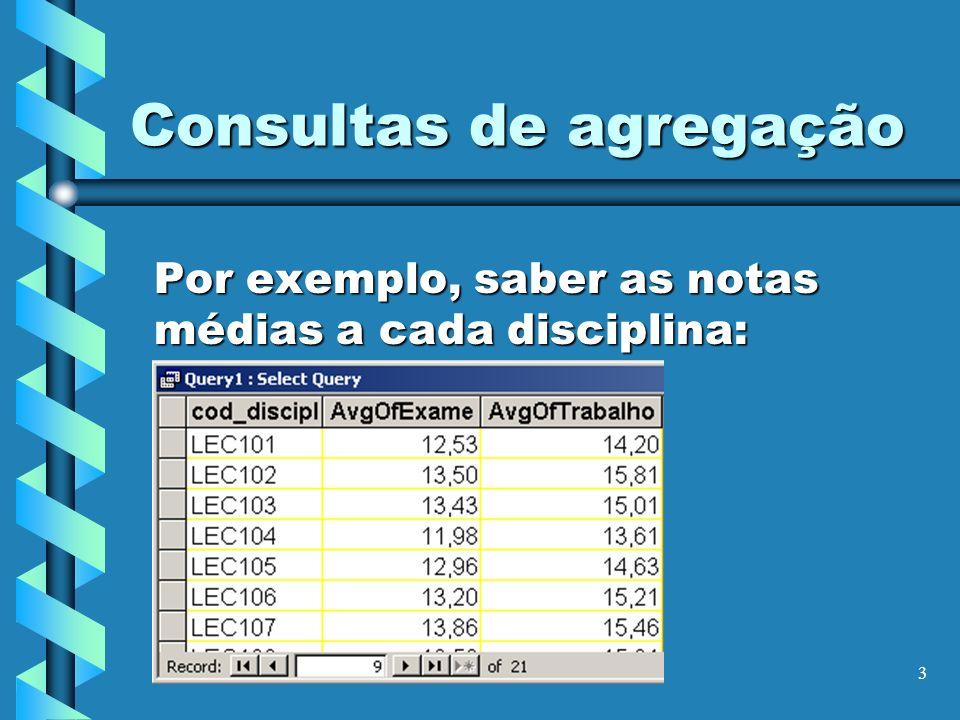 3 Consultas de agregação Por exemplo, saber as notas médias a cada disciplina: