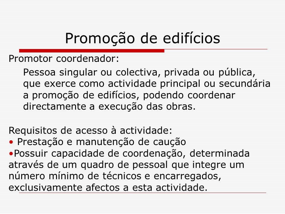 Promoção de edifícios Promotor coordenador: Pessoa singular ou colectiva, privada ou pública, que exerce como actividade principal ou secundária a pro
