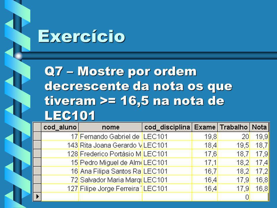 14 Exercício Q8 – Mostre os alunos que tiveram >=19,5 nos trabalhos e exames do 2º ano