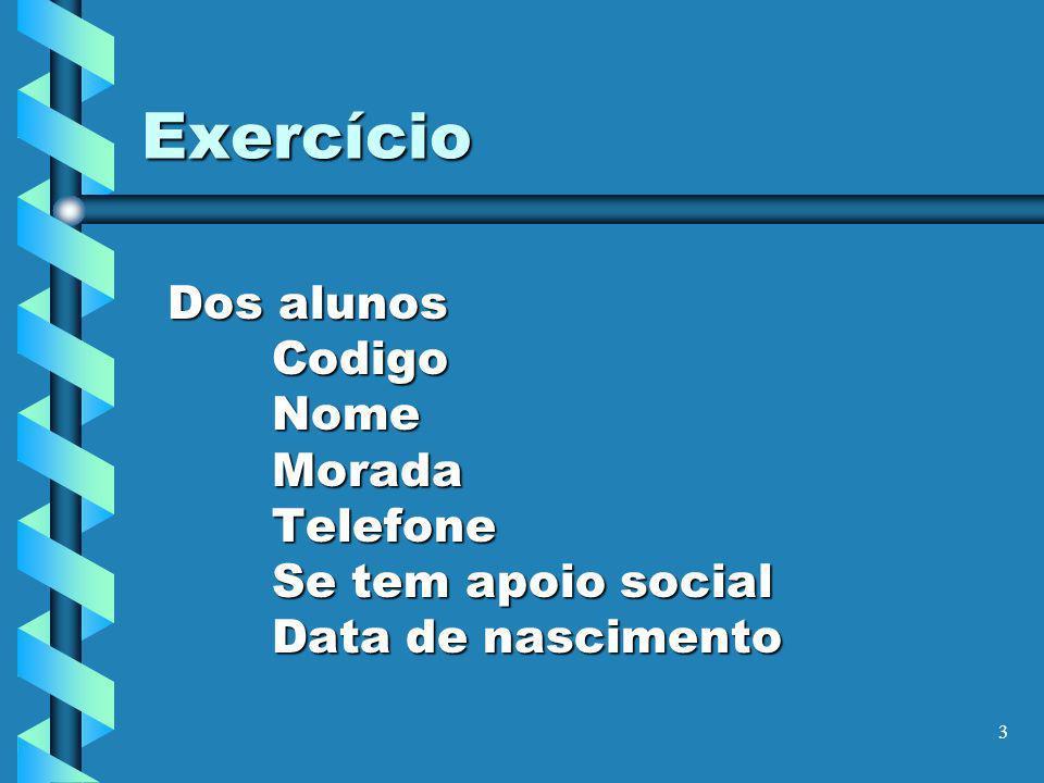 4 Exercício Das disciplinas CodigoAnoNome