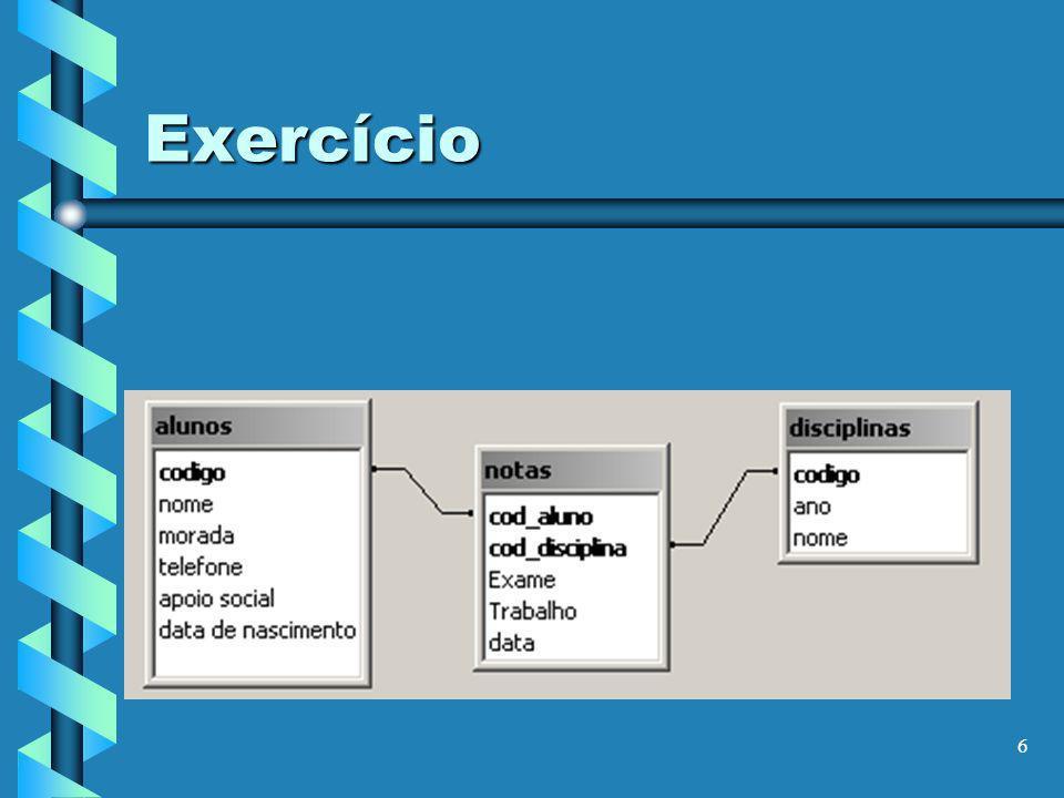 7 Exercício Q1 – Mostrar os alunos que moram em Valongo