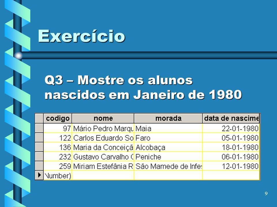10 Exercício Q4 – Mostre as disciplinas do 1º ano que começam por M