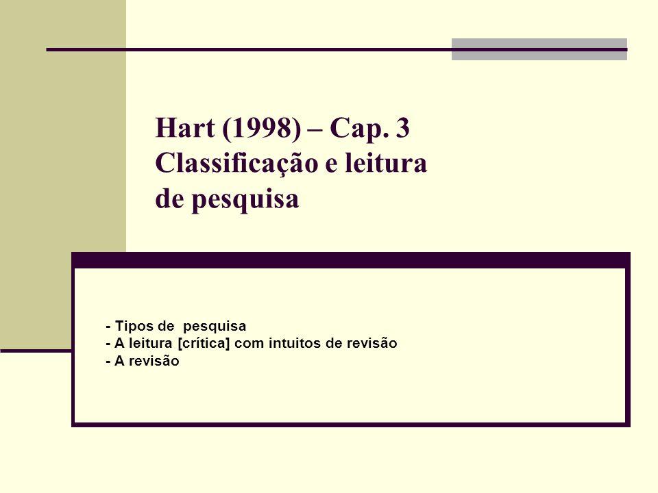 Hart (1998) – Cap. 3 Classificação e leitura de pesquisa - Tipos de pesquisa - A leitura [crítica] com intuitos de revisão - A revisão