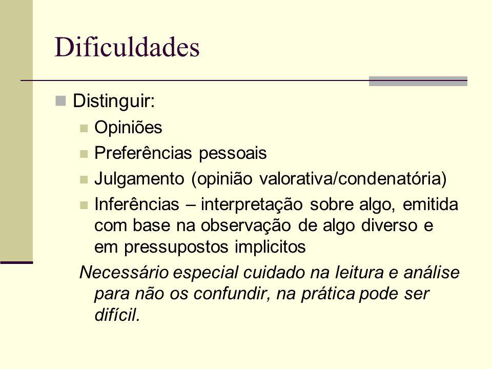 Dificuldades Distinguir: Opiniões Preferências pessoais Julgamento (opinião valorativa/condenatória) Inferências – interpretação sobre algo, emitida c