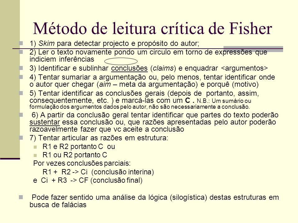 Método de leitura crítica de Fisher 1) Skim para detectar projecto e propósito do autor; 2) Ler o texto novamente pondo um circulo em torno de express