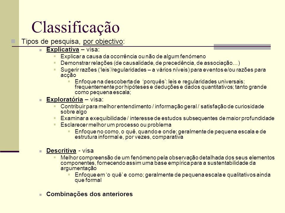 Classificação Tipos de pesquisa, por objectivo: Explicativa – visa: Explicar a causa da ocorrência ou não de algum fenómeno Demonstrar relações (de ca