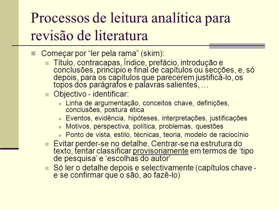 Processos de leitura analítica para revisão de literatura Começar por ler pela rama (skim): Título, contracapas, Índice, prefácio, introdução e conclu