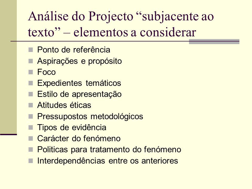 Análise do Projecto subjacente ao texto – elementos a considerar Ponto de referência Aspirações e propósito Foco Expedientes temáticos Estilo de apres