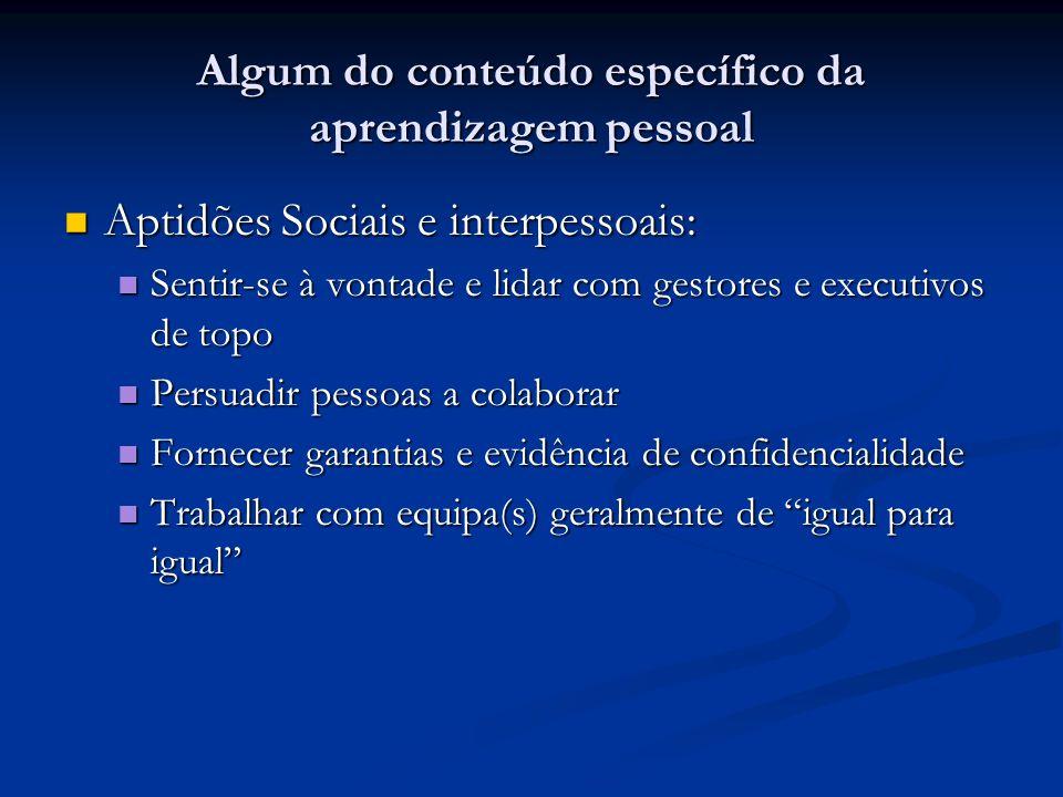 Algum do conteúdo específico da aprendizagem pessoal Aptidões Sociais e interpessoais: Aptidões Sociais e interpessoais: Sentir-se à vontade e lidar c