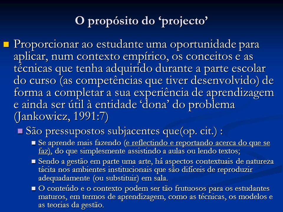 O propósito do projecto Proporcionar ao estudante uma oportunidade para aplicar, num contexto empírico, os conceitos e as técnicas que tenha adquirido