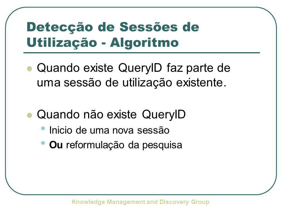 Knowledge Management and Discovery Group Detecção de Sessões de Utilização - Algoritmo Quando existe QueryID faz parte de uma sessão de utilização existente.
