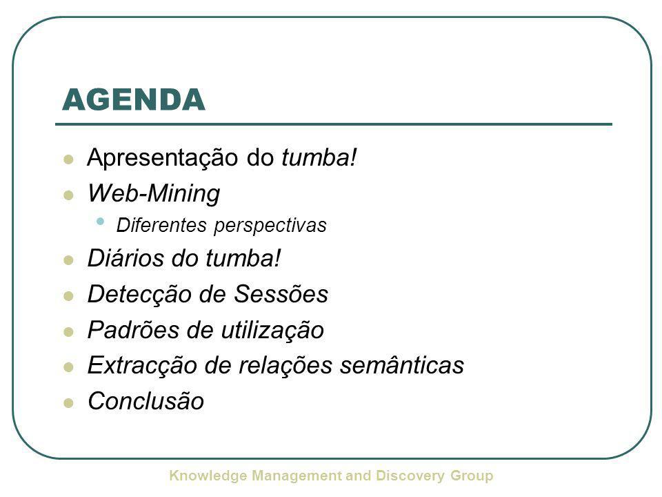 Knowledge Management and Discovery Group AGENDA Apresentação do tumba.