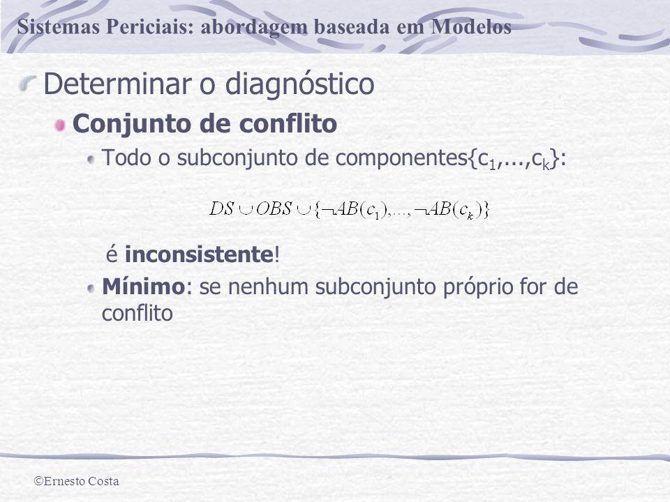 Ernesto Costa Sistemas Periciais: abordagem baseada em Modelos Um diagnóstico para S=(DS,COMP,OBS) é um conjunto mínimo tal que: é consistente!