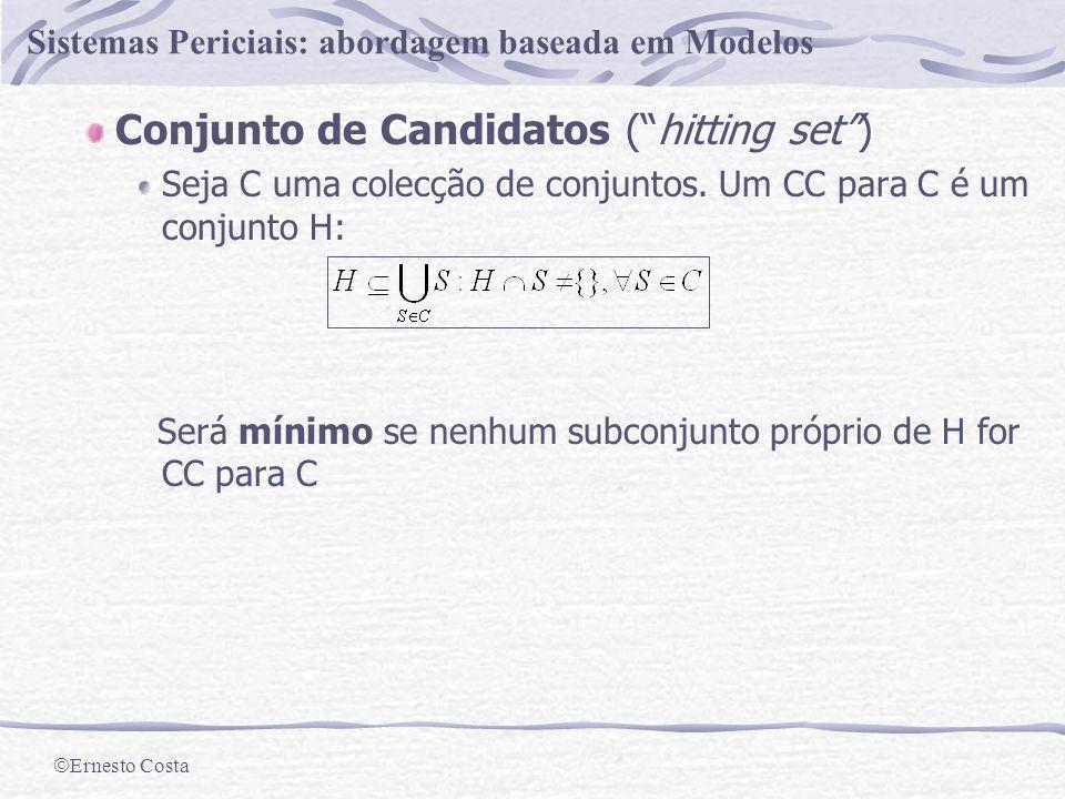 Ernesto Costa Sistemas Periciais: abordagem baseada em Modelos Determinar o diagnóstico Conjunto de conflito Todo o subconjunto de componentes{c 1,...,c k }: é inconsistente.