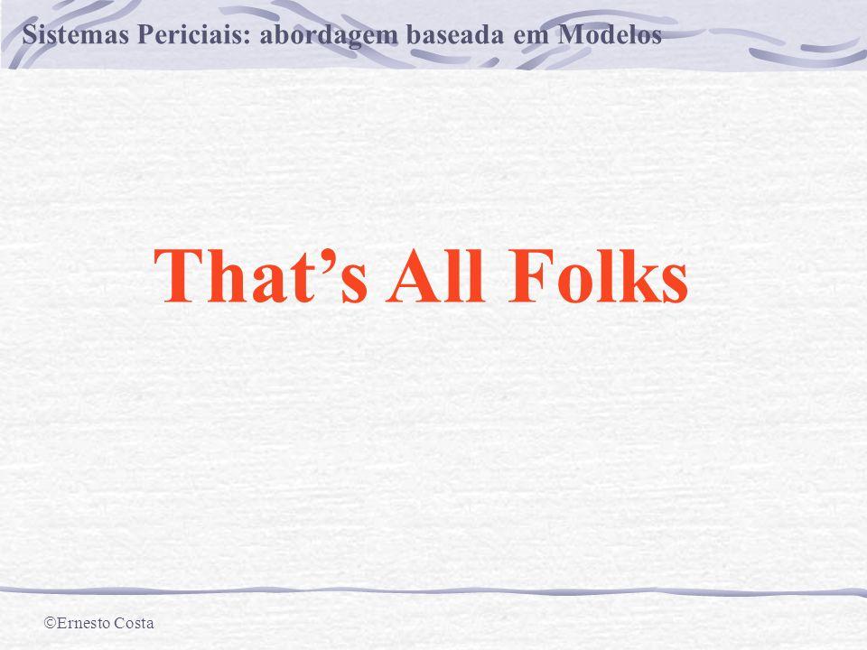 Ernesto Costa Sistemas Periciais: abordagem baseada em Modelos A Árvore-CC DT(DS,{M1,M2,M3,A2},OBS) {A1,M1,M2} {M1,M3,A1,A2} {A1} {M1} {M2} {M1} DT(DS,{M2,M3,A1,A2},OBS) DT(DS,{M1,M3,A1,A2},OBS) {M3}{A1}{A2} × × DT(DS,{M1, A1,A2},OBS)DT(DS,{M1, M3,A1},OBS) (1) Diagnóstico = {{A1}, {M1}, {M2,M3}, {A2,M2}}